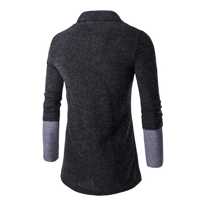 Nuevo jersey de punto de moda para hombre con costuras delgadas sin hebilla