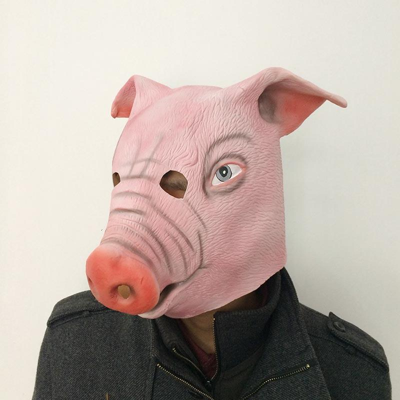 Realistic Scary Masks Halloween Latex Pig Head Mask For Horror Party Cosplay Costume Masquerade Festival Props Supplies