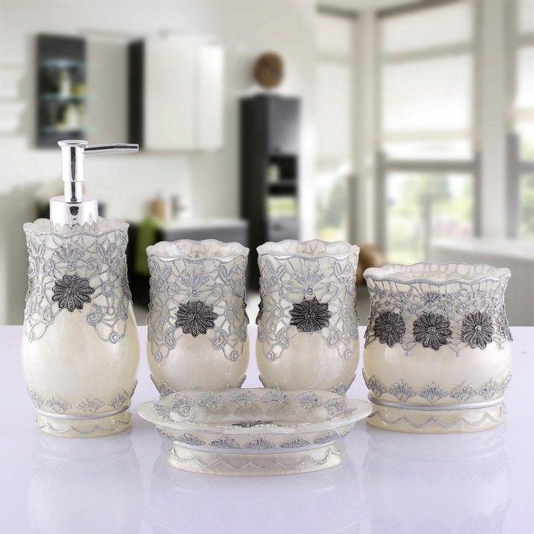 Bath Vanity Accessories Set Resin, Soap Dispenser, Toothrush Holder, Soap  Dish, Toothrush Cup Sets Present Wedding,Lovers,Friends Royal Bath Ensemble  ...