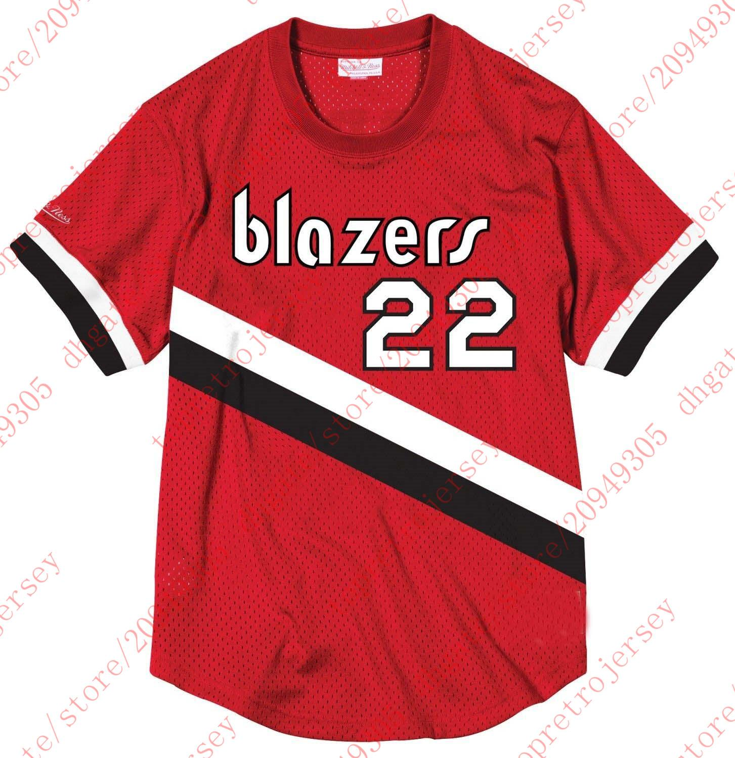 d64e76e8ba0 ... hot 2018 cheap throwbacks custom 22 clyde drexler mitchell ness top  mesh jersey red shirt mens ...