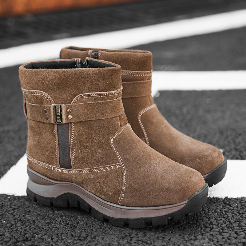 31570651b16 Men's Billings Snow Boot Outdoor Suede Fur Lined Waterproof Winter Boots  Thick Bottom Zipper Fashion Ankle Boot