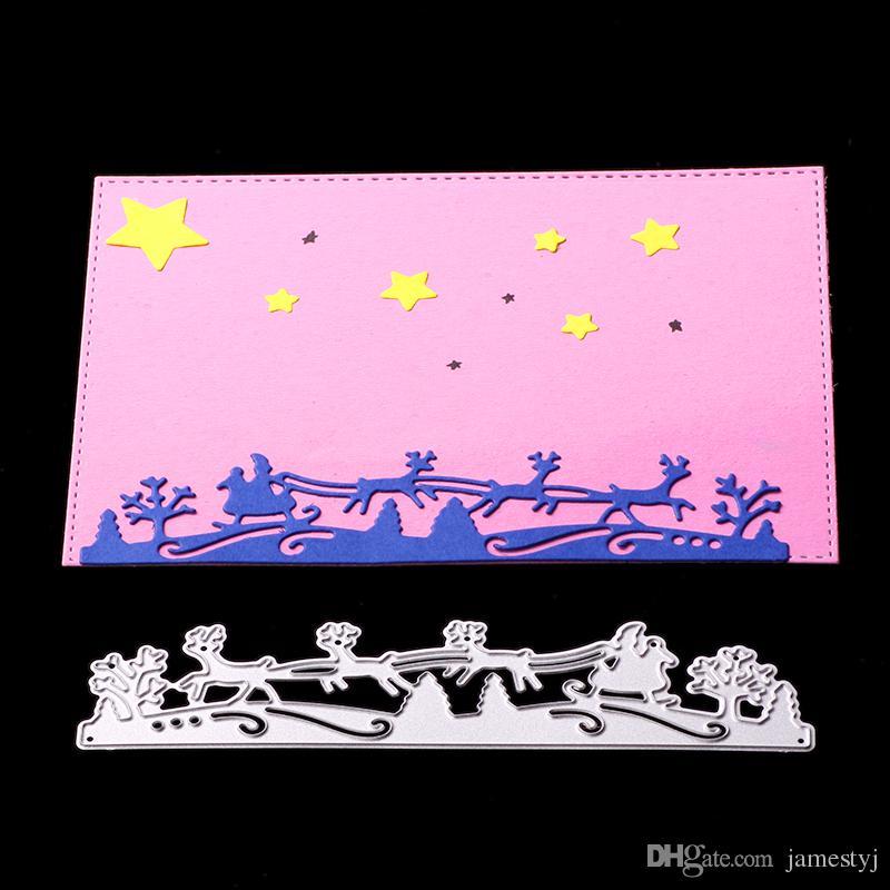 Frohe Weihnachten Schablone.Stanzformen Sleigh Santa Rid Fur Frohe Weihnachten Karten Schablone Scrapbooking Papier Handwerk Handgefertigt Pragung Ordner Diy Papier Handwerk