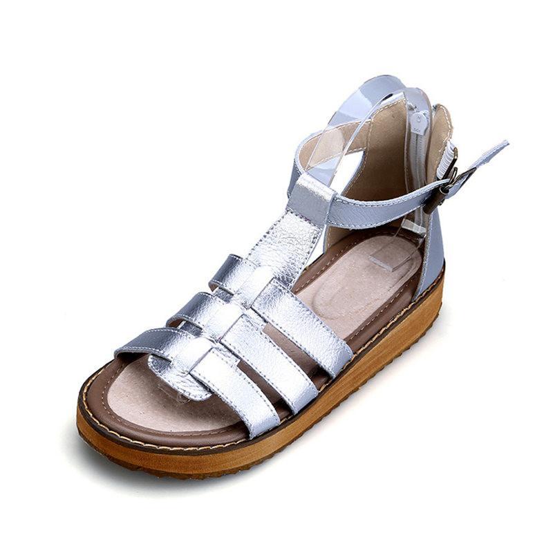 Sandalias Cuero Genuino Gladiador Plata Negro Hebilla Tobillo Tacón De Plano Verano Moda Las 2018 Correa Casual Zapatos Mujer Del N0mw8n