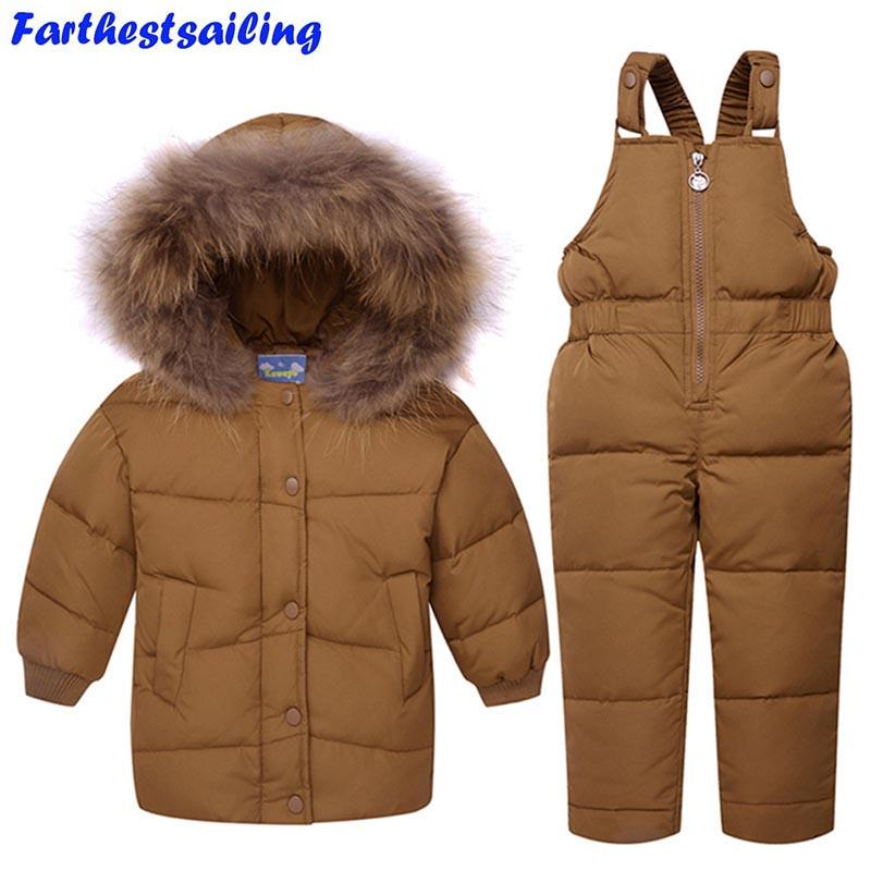 03712aef4 Children Winter Clothing Set Boys Ski Suit Girl Down Jacket Coat + ...