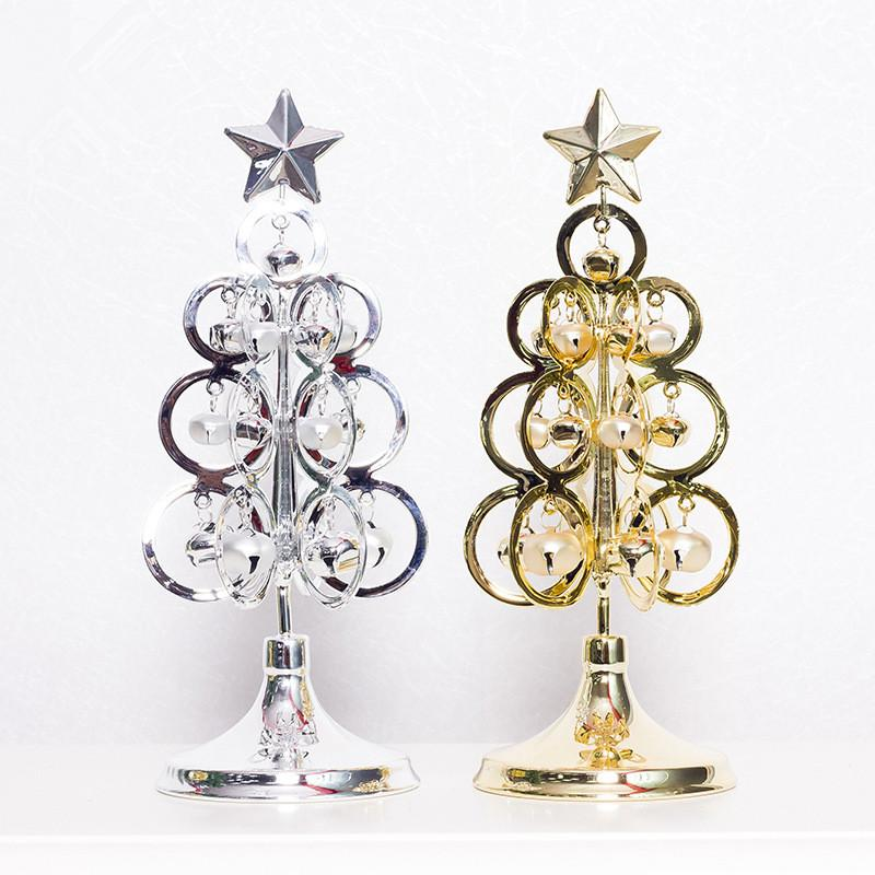 Silver Gold Mini Metal Christmas Tree Table Decoration Accessories Home Party Metal Tree Bell Decor Supplies
