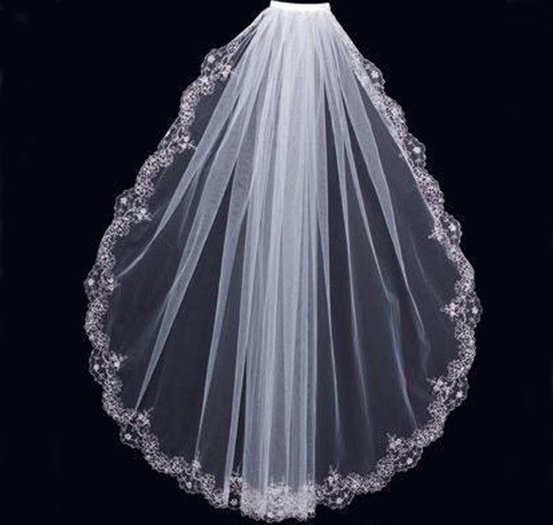 Affascinante bianco avorio avorio corto veli di lusso festa di nozze perline in rilievo pizzo finire un strato economico di alta qualità nuziale mantilla tulle con pettine