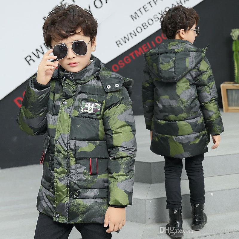 Winter Jacket Boys New Fashion Boy Camouflage Parka Giacca in cotone imbottita con cappuccio Cappotto in velluto caldo