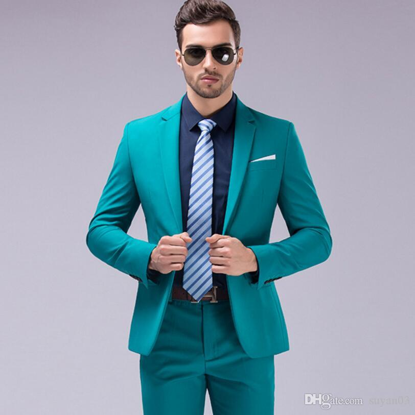 Slim Fit Suits Men Notch Lapel Business Wedding Groom Leisure Tuxedo ...