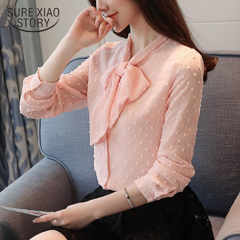 dd14a2a5 2019 2018 New Fashion Women Blouse Shirt Solid Female Spring Long Sleeved  Women Top Floating Point Spinning OL Style Blusa 0976 30 From Mangcao, ...