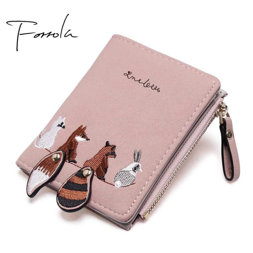 d4c2d06d6730 Fashion Women's Wallet Lovely Cartoon Animals Short Leather Female Small  Coin Purse Hasp Zipper Kid Purse Card Holder For Girls
