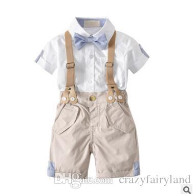 b4638e899 2019 Baby Boy Clothes 2018 Summer Short Sleeve Newborn Baby Sets Infant  Clothing Gentleman Suit Shirt Bow Tie Suspender Shorts Trouser 6M 4Y From  ...
