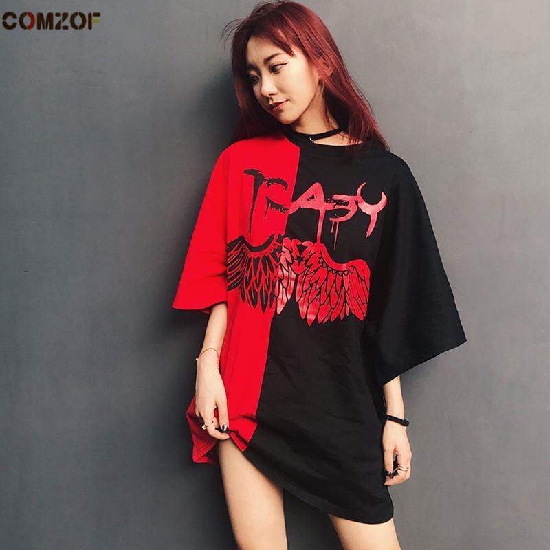Women Summer Patchwork Hip Hop Punk T Shirt Oversized Tee Shirts Couple  Casual Streetwear Korean Fashion Tops ClothesY1882902 T Shirt Designer  Graphic T ... c6406364753c
