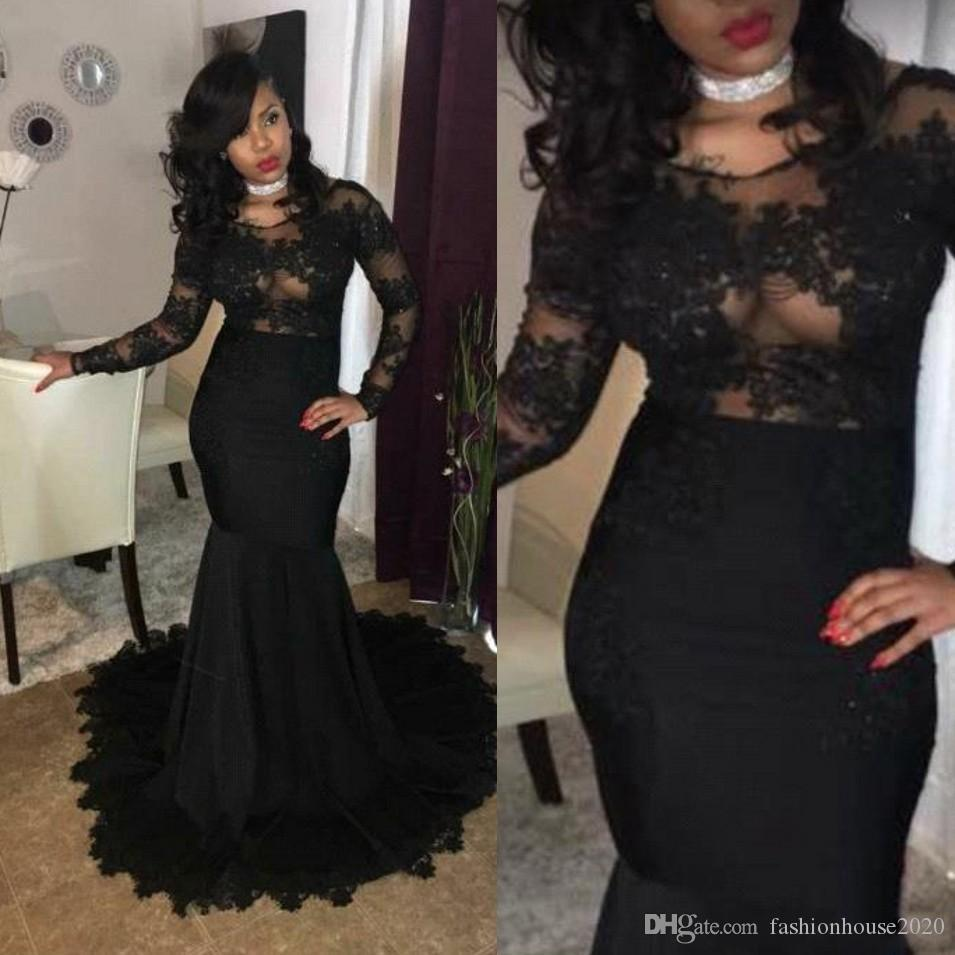 a086b38ce738 2018 Sexy Cheap Black Girls Prom Dresses Mermaid Boat Neck Long Sleeves See  Though Lace Appliques African Sweep Train Evening Party Gowns Navy Blue Prom  ...