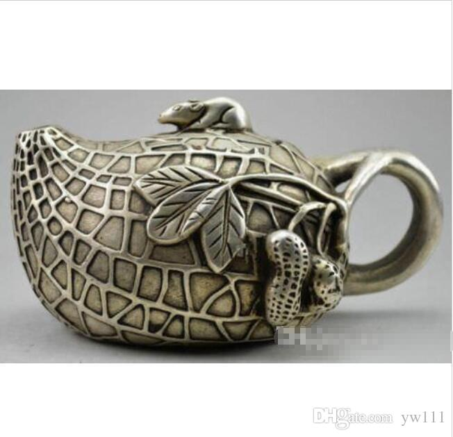 Wholesale - Collectible Decorated Old Handwork Tibet Silver Carved Rich Peanut Mice Tea Pot