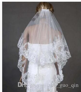 Bridesmaid Wedding Dresses Accessories Bridal Veils 2018 With Lace Hem Sequins