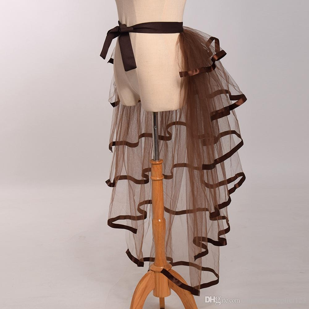 Mujeres Victorian Steampunk Black Bustle Mujeres Tutu Belt Lace Underskirt NUEVO High Qualitu Envío rápido