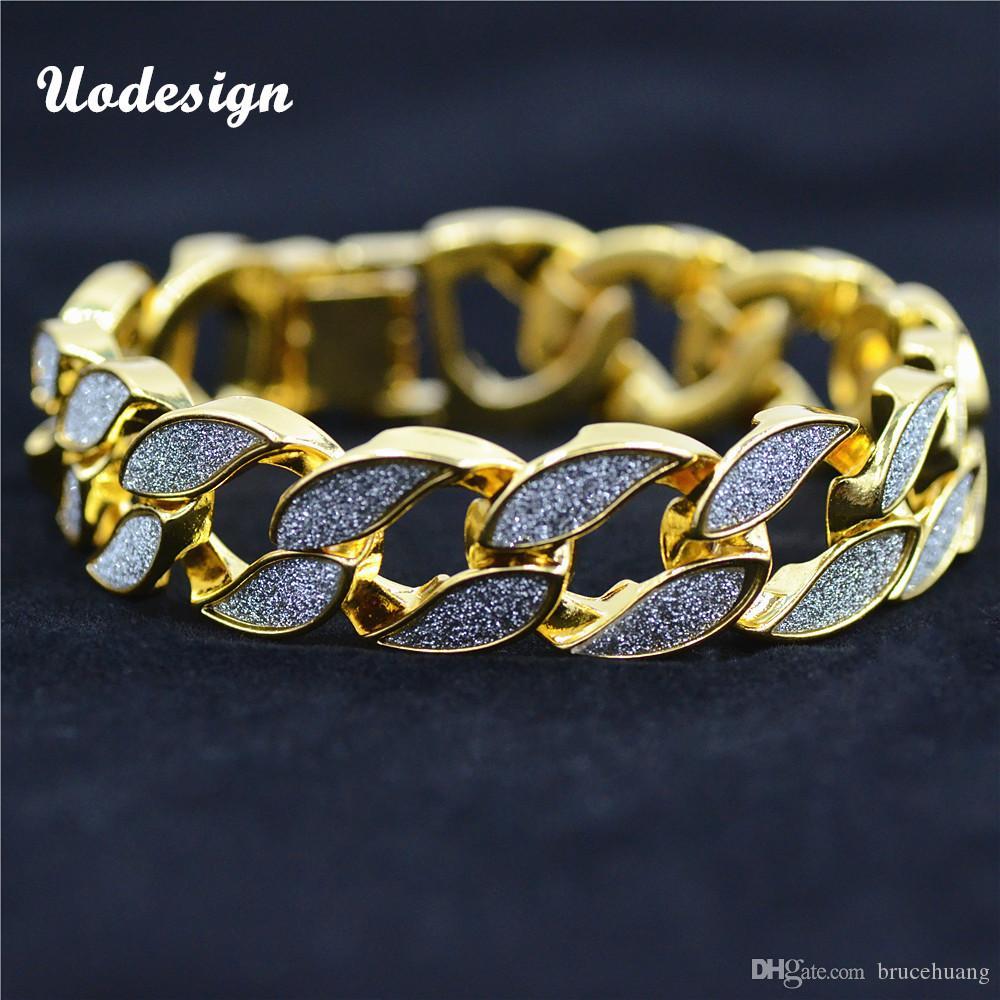 cb91ccd47ceaf Sand Blast Bracelet Cuban Chain Link Alloy Iced Out Hip Hop Gold Silver  Tone Heavy Mens Bracelet