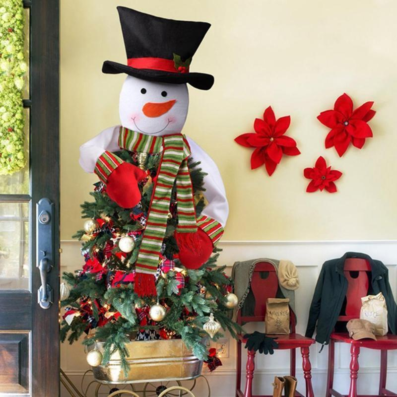 2018 Snowman Christmas Tree Topper Cloth Snowman Christmas Tree Top Decoration For Home Shops New Year Xmas Tree Decor 2sizes Y18102909