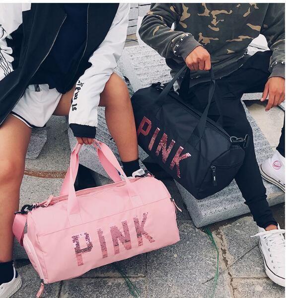 Female Fitness PINK Gym Bag Shoes Ladies Nylon Large Training ... ae7feaebec896