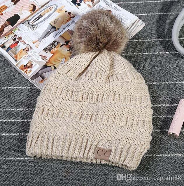 4d51a86069e8f CC Trendy Hats Kids Knitted Fur Poms Beanie Winter Cable Slouchy Skull Caps  Leisure Beanie Outdoor Hats Beach Hats Beanie Hats For Men From Captain88