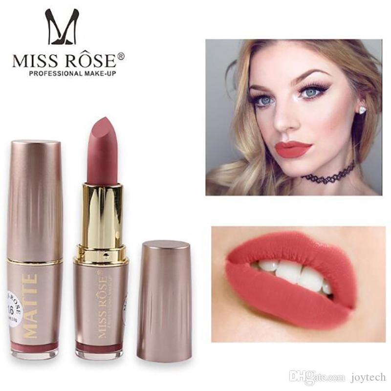 Wholesale Prossfional makeup gloss 6color Waterproof Long Lasting Tint Sexy Red LipStick Miss Rose Nude Lipstick Matte Makeupmatte lipstick