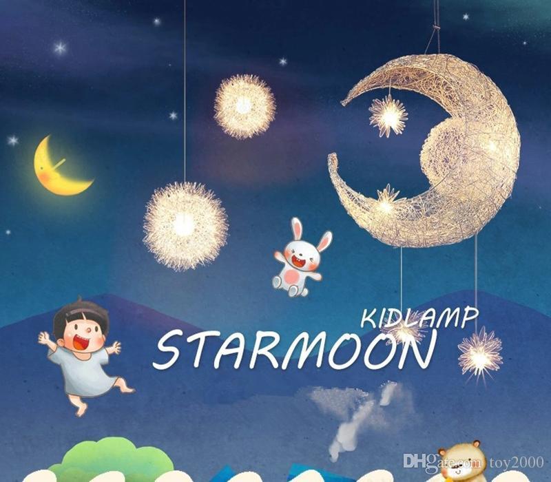 Fuente de luz LED G4, lámpara Moon Star - moderna Children Kid Dormitorio infantil novedad Lámpara de techo Lámpara de techo de aluminio