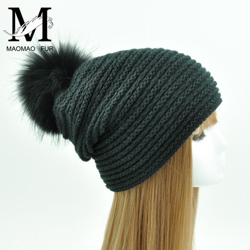 17baf12cb99 2019 Women Beanies Raccoon Fur Pom Poms Wool Hat Beanie Knitted Skullies  New Fashion Caps Ladies Knit Cap Winter Hats For Women Femal From  Qingfengxu