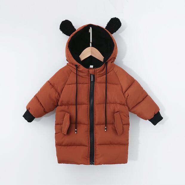 Acquista Nuovi Giacche Invernali Bambini Bambino Inverno Cappotto Bambini  Orecchie Con Cappuccio Vestiti Lunghi In Cotone Ragazzi E Ragazze In Cotone  ... e5de65763e1a