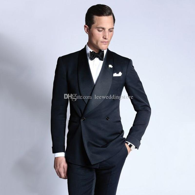 2e7afd9e5fff 2018 Men Suits Black Shawl Lapel Double Breasted Slim Fit Wedding Suits  Groom Tuxedos Custom Made Formal Blazer Prom Evening Dress Black Tuxedo For  Wedding ...