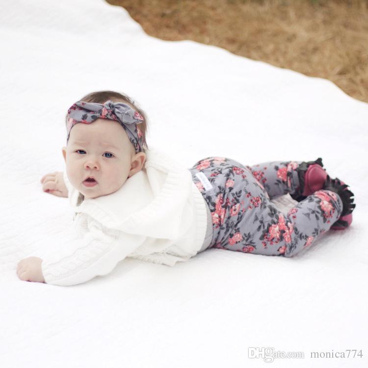 Nouveau-né Pantalon bébé Ens pantalon + lapin oreille Bandeau + Bib Tenues Set Cute Girls fond Leggings imprimé floral Fleur Pantalon long 0-24M P1