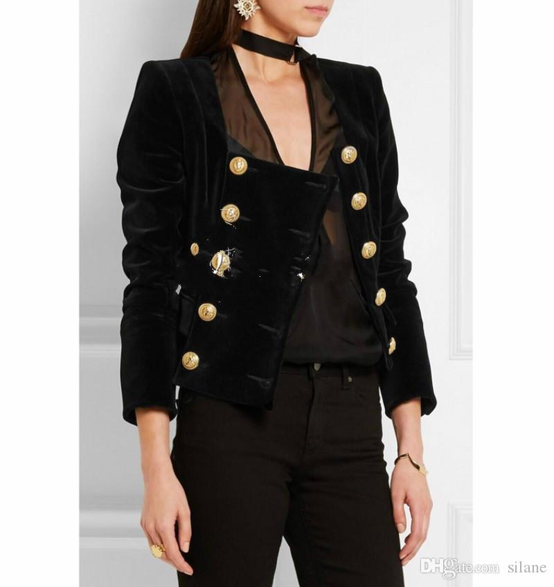 701a186416 Wholesale- New! Free Shipping! Fashion Inspired Gold Buttons Embellished  Celebrity Party Wholesale Women Jacket Women Top
