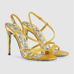 34dda60ea07b0b HOT SALE 9CM WOMEN GOLD BRAIDED METALLIC GOLD STRAPPY SANDAL SHOES Men Women  FASHION SHOWS Sandals Slippers Mules Wedges Slides