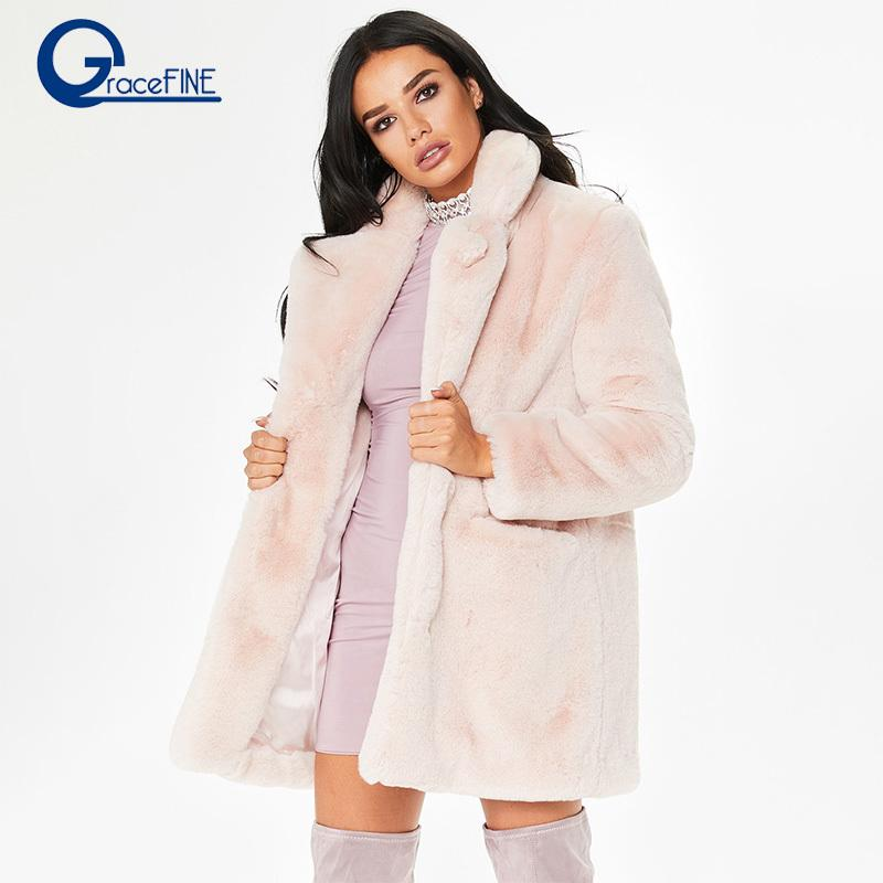 Abrigos de invierno de las mujeres prendas de vestir exteriores delgada larga chaqueta roja rosa espesar cálido abrigo de piel sintética Casual Shaggy