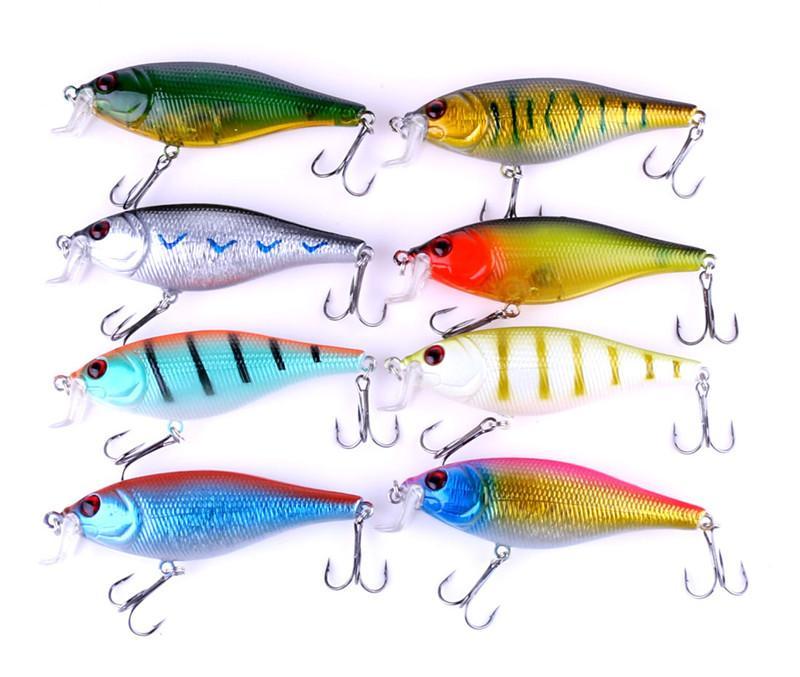 Simulación 3D Fish ABS Plástico Cebo de pesca 9.5cm 13.5g Minnow Rattlin Señuelo de canalización de sangrado láser
