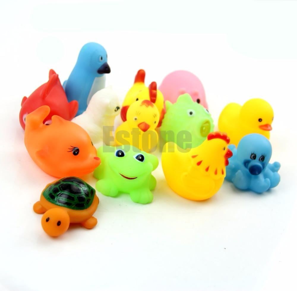 Soft Rubber Float Sqeeze Sound Baby Wash Bath Play Animals Cute Toys ...