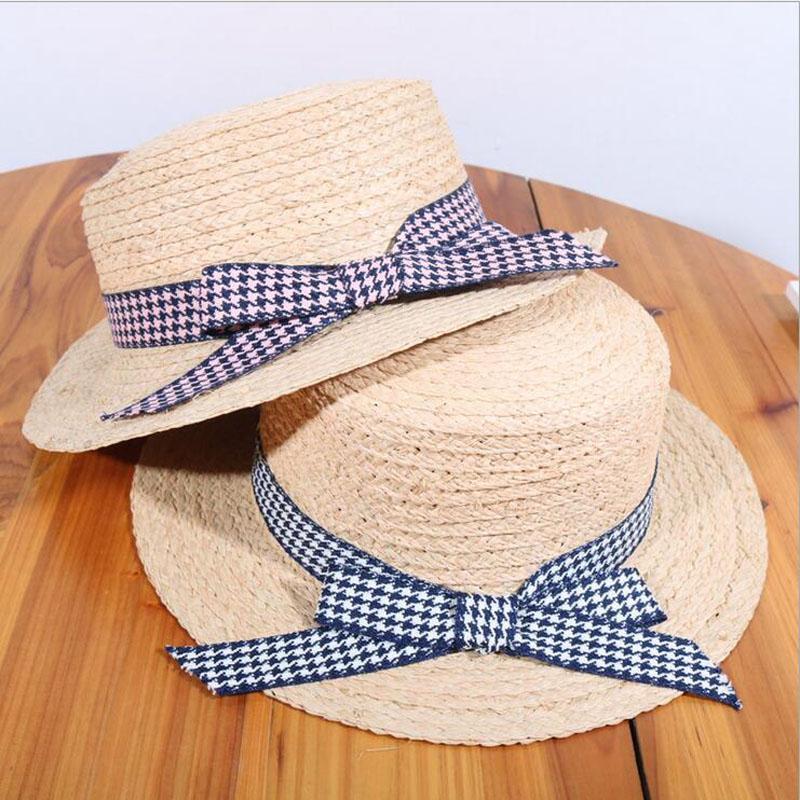 SUOGRY Bow Straw Hats Women Wide Brim Straw Panama Hat Fedora Beach Sun Hat  Hight Quality Flat Top Summer Travel Flat Brim Hats Mens Straw Hats From ... 03321d47cad