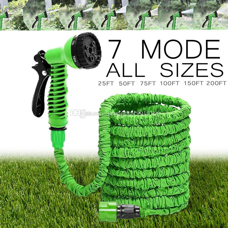 2018 hot selling 25ft 150ft garden hose expandable magic flexible water hose eu hose plastic hoses pipe with spray gun to watering from samantha19910106 - Flexible Garden Hose