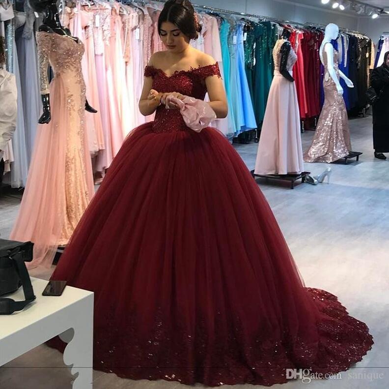 38308e3b994 Burgundy Ball Gown Lace Prom Dresses 2019 Off Shoulder Plus Size Vintage  Sequined Beaded Puffy Tulle Skirt Cheap Quinceanera Evening Gowns Prom  Dresses With ...
