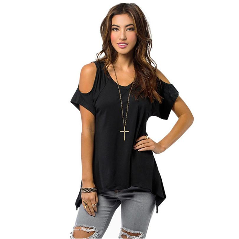 b38177a586dd4 ... KLV Summer Style Plus Size Sexy Women Casual V Neck Off Shoulder T Shirt  Short Sleeve Solid Stretch T Shirt Dropship Fun Shirts T Shirts Online  Shopping ...