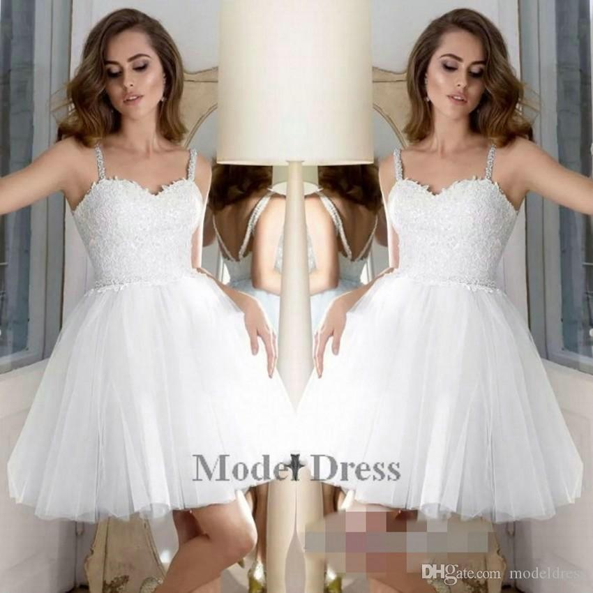 514286ee6f2 White Homecoming Dresses A Line Tulle Lace Appliques Spaghetti Straps  Sequined Beading Waist Elegant Girls Party Dresses Short 2018 Red Homecoming  Dress ...