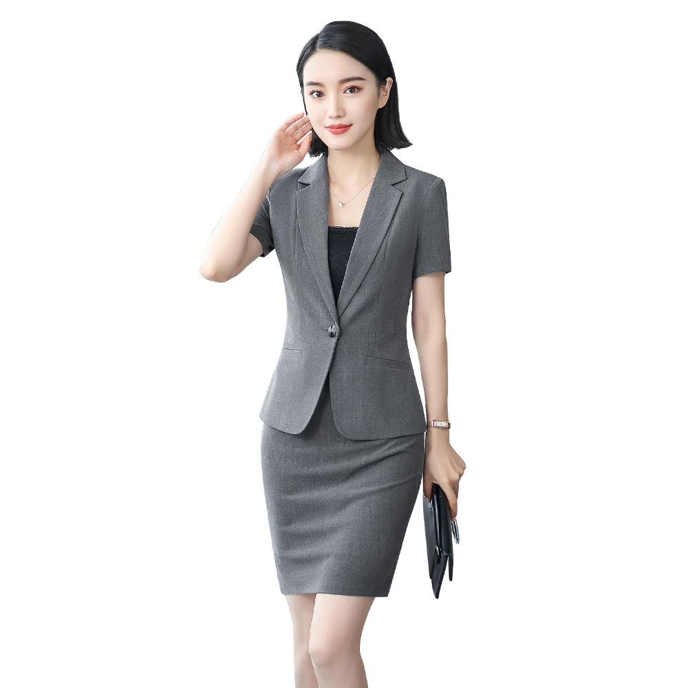 70af48d2523 2019 Women Office Dress Suits  Amp  Blazer Plus Size Elegant Pencil Skirt  Two Piece Set Top And Skirt Summer Bodycon Office Skirt Set From  Clothesg519