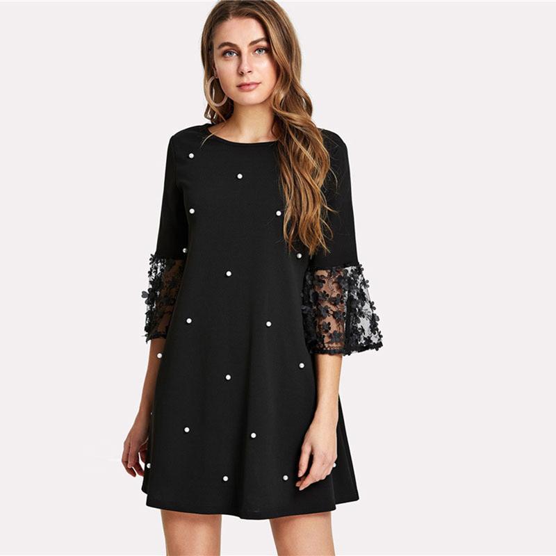 Acquista Perle Di Perline Eleganti In Pizzo Vestito Le Donne Eleganti 2019  O Collo Estivo Vestito Sottile Allentato Nero Zipper Short Mini Dress  Vestidos ... 63f3b50b87b