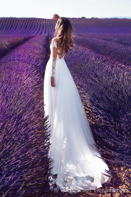 Vestidos De Mariee 2018 Spring A-Line Abiti da sposa Paese Rustic Abiti da sposa Puro collo Appliques in pizzo manica lunga Split Milla Nova