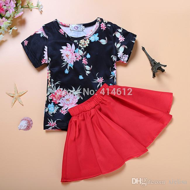 Envío gratis imprimir diseños florales vestidos para niñas niños niñas ropa conjuntos camiseta + flor impresa falda 2 unids niños bebés ropa