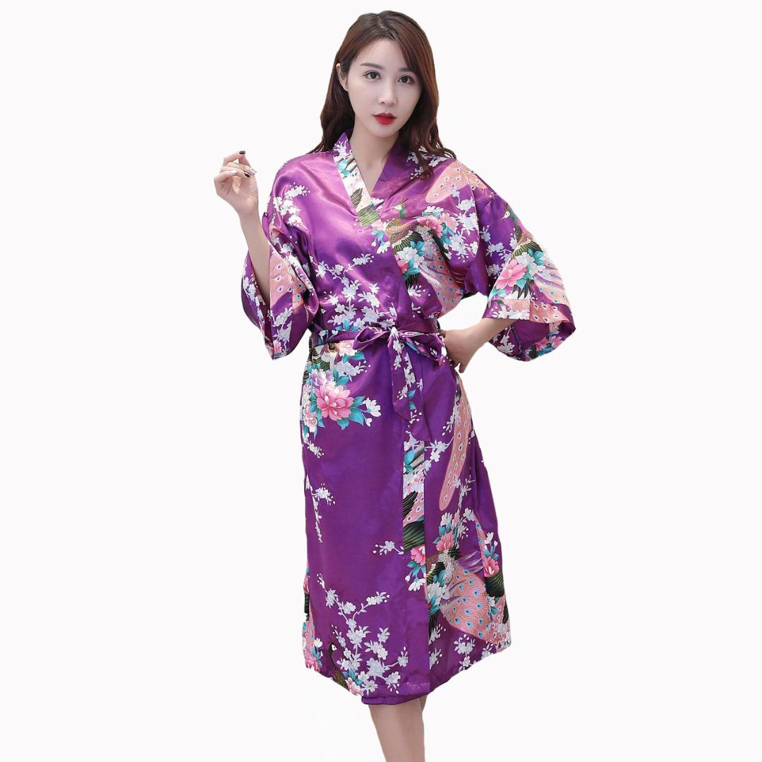 2c8cd872a5069 Satin Bride Bridesmaid Wedding Robe Women Sexy Kimono Bathrobe Gown Plus  Size S-3XL Flower Peacock Sleepwear Home Clothes
