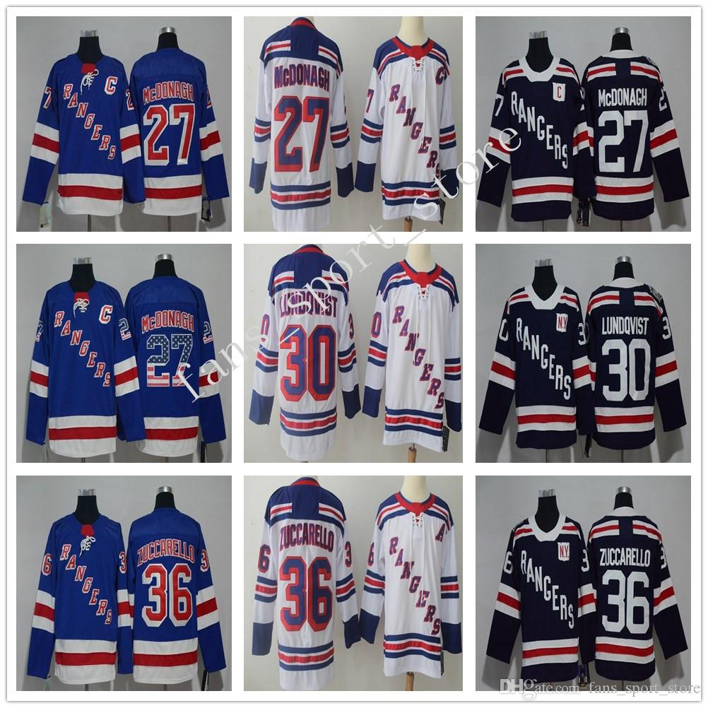 new arrival 475d6 05225 New York Rangers 27 Ryan McDonagh Jersey White 30 Henrik Lundqvist Winter  Classic Dark Blue 36 Mats Zuccarello Hockey Stitched Men Kid Women