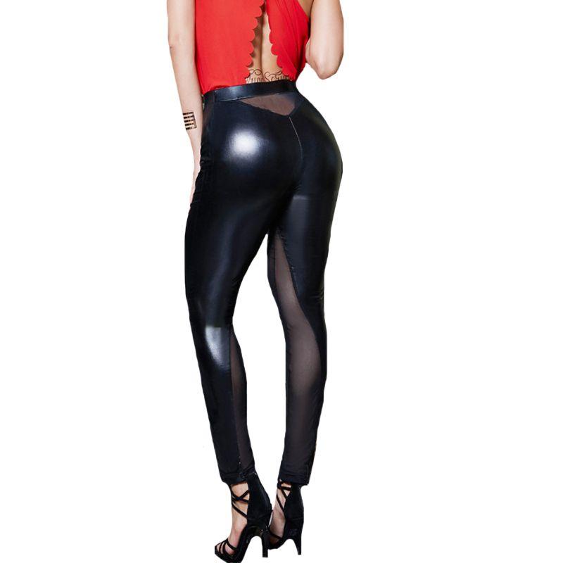 2018 New Design Women Summer PU Leather Leeging Mesh Patchwork Leggings Fitness Black Sexy Leggins Slim Plus Size Skinny Pants