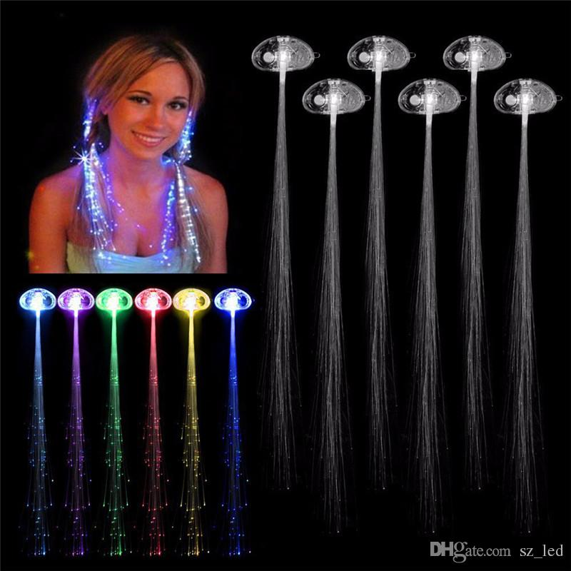 Flash Glow LED Braid with Hairpin Flash Braids Novelty Decoration for Wedding Party Hair Extension by Optical Fiber