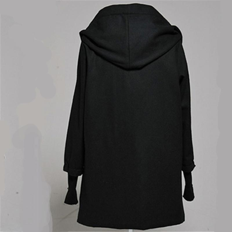 Winter Oblique zipper Gothic Clothing Harajuku Fashion Long Hooded Jacket Mens Trench Wool Coat Peacoat Overcoat With Gloves