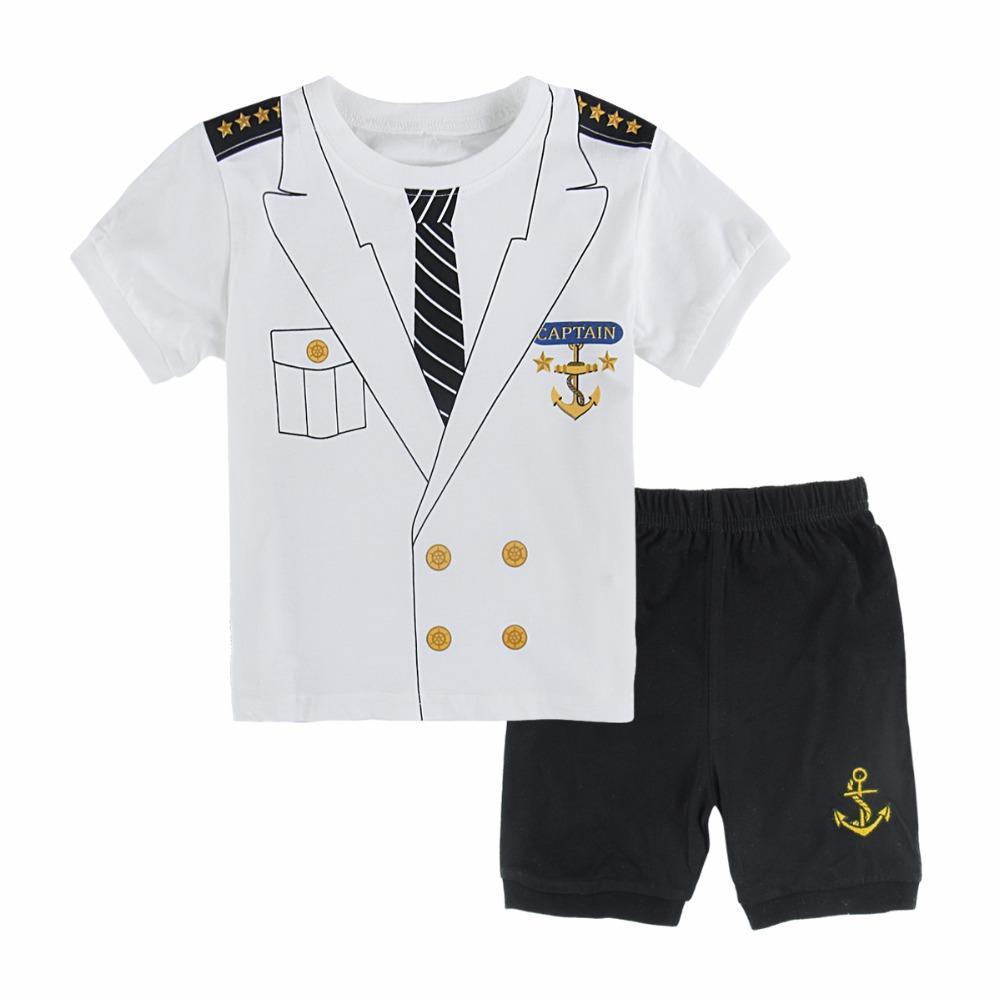 Kids Boys Captain Pajamas Infant Clothes Sets Toddler Sleepwear ...